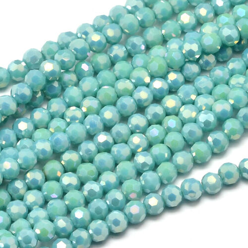 10 Strds Faceted Round Full Rainbow Plated Electroplate Glass Beads  Turquoise
