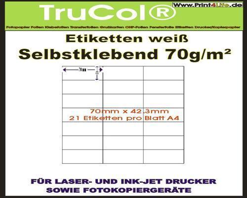 Etiketten 70x42,3mm weiß selbstklebend unbedruckt MENGE WÄHLBAR AUF DIN A4 Bögen
