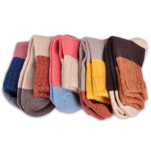 5 Paar Wolle Socken Kaschmir Damensocken Farbe Streifen Winter Warm Strumpf Bunt