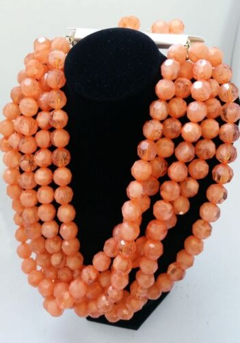"""ORANGE peach color Crystal Beads multi Layer Necklace 16/"""" w// Earrings Z2A-16//22"""