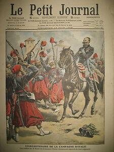 CINQUANTENAIRE-CAMPAGNE-ITALIE-3e-ZOUAVES-TRAIN-MECANO-FOU-LE-PETIT-JOURNAL-1909