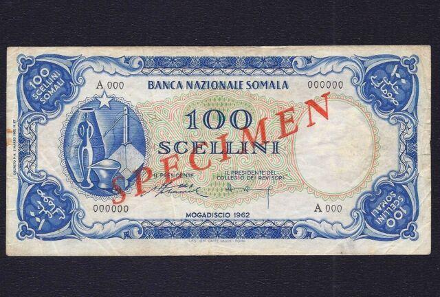 Somalia 100 Scellini = 100 Shillings 1962 Specimen  P-4s  VF