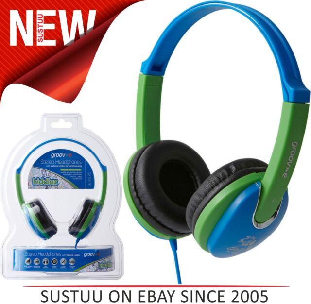 NUOVO Groov-e gv591 Kids stile DJ Cuffie con 85DB Volume LIMITATORE - Blu/Verde