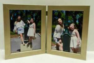 8x10-Silver-Champagne-Double-Hinged-Vertical-Wood-Photo-Picture-Frame-New