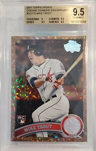 2011-TOPPS-UPDATE-COGNAC-DIAMOND-ANNIVERSARY-MIKE-TROUT-ROOKIE-US175-BGS-9-5