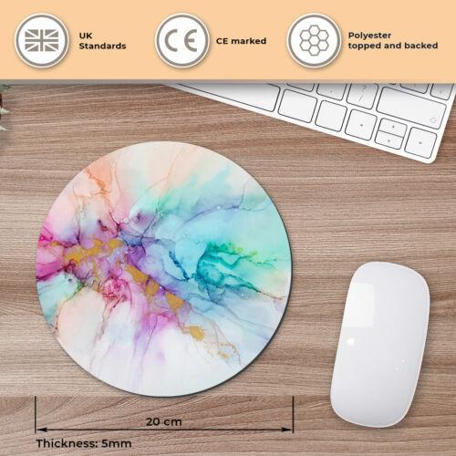 ROUND Tappetino mouse-Effetto Marmo inchiostro artista astratto ufficio regalo #16003