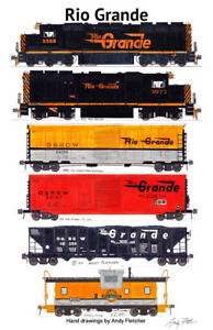 Rio-Grande-Freight-Train-11-034-x17-034-Railroad-Poster-Andy-Fletcher-signed