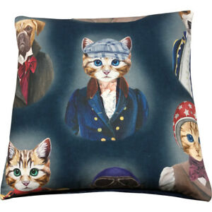 The-Tabby-Cushion-Cover-French-50x50cm-Blue-Cat-Cushion-Cotton-Velvet