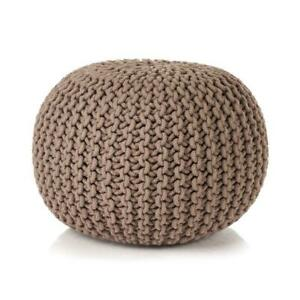Miraculous Details About Round Knitted Pouf Ottoman Pouffe Relax Soft Footstool Handmade Home Decor Brown Squirreltailoven Fun Painted Chair Ideas Images Squirreltailovenorg