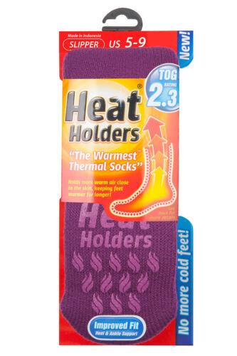 Ladies Genuine Heat Holders Slipper Gripper Non slip Socks Lavender 4-8 uk