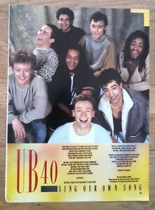 Details about UB40 Sing Our Own Song lyrics magazine PHOTO/Poster/clipping  11x8 inches