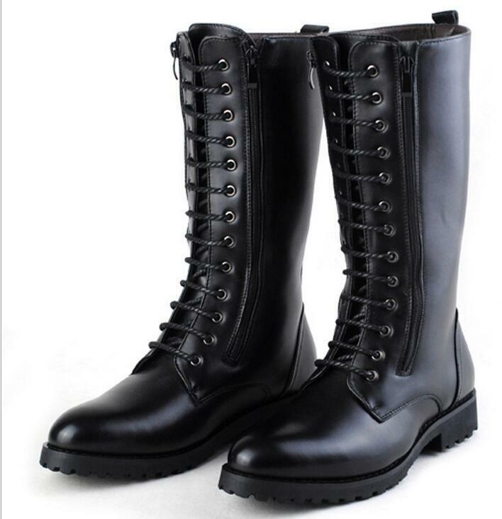 Men's Lace Up Mid Calf Boots Side Zip Knight Black Winter Casual Ridding Shoes