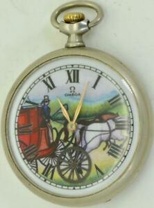 VERY-RARE-antique-Omega-pocket-watch-Automaton-Carriage-fancy-enamel-dial