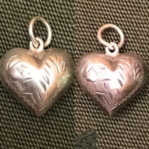 Vintage-1940s-Sterling-Silver-Etched-Flower-Puffy-Heart-Charm