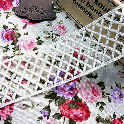 Antique Style Cotton Lace Embroidered Crochet Trim 3.8cm WD Dolls 1Yard