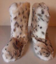 PB Teen Pottery Barn Faux Fur Snow Leopard Boots Slippers Medium NEW