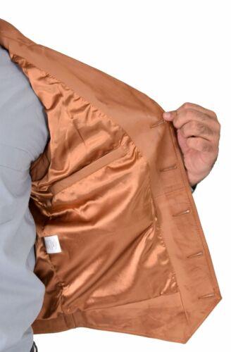 Mens Genuine Soft Tan Leather Waistcoat Revere Collar Gilet Classic Western Vest