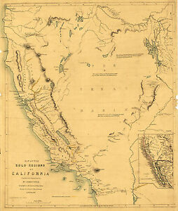 Map Of California During Gold Rush.Details About 1849 Map California Gold Rush Mining Regions Mines Wall Poster Vintage History