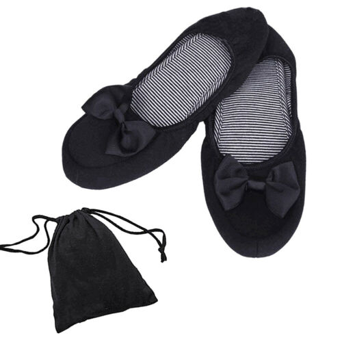 Women Foldable Roll Up Shoes Ballerina Bow Flats Ballet Pumps Shoes Slippers+Bag