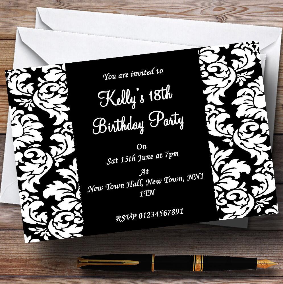 Noir floral damas blanc party invitations personnalisées personnalisées invitations b39cb1
