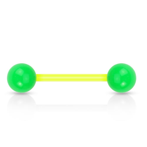 8 Pairs 16 Pc Solid Ball Acrylic Flexible Barbell Tongue Nipple Rings Non Metal