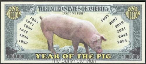Million Note Year of the Pig Fantasy Money Chinese Zodiac