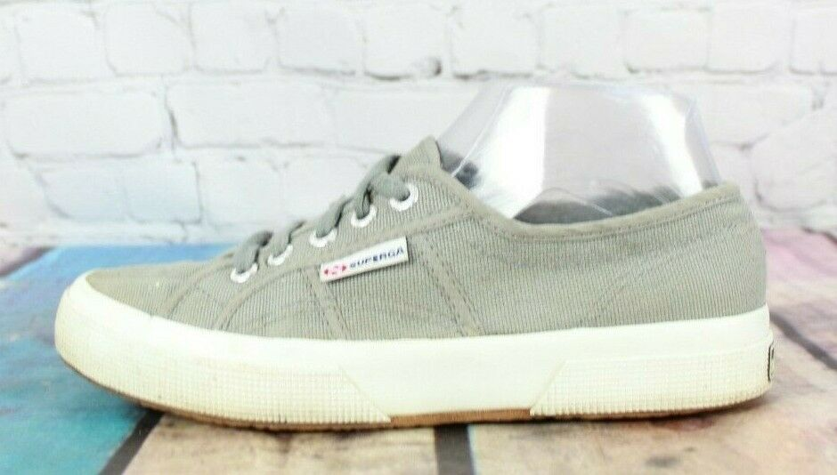 SUPERGA Women's Gray Canvas Lace-up Casual Sneakers Size 7.5