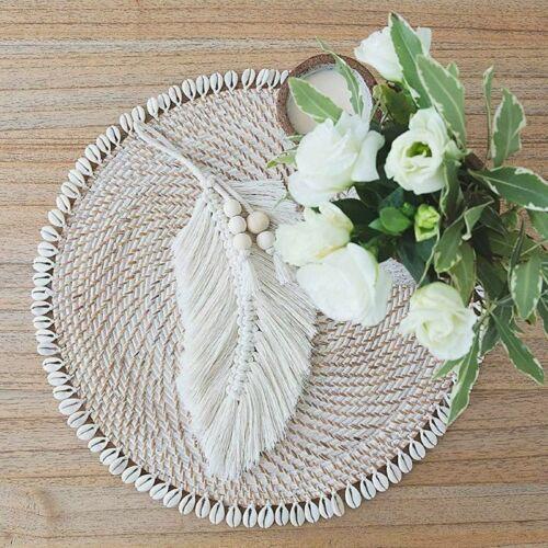 Macrame Feathers Fringed Tapestry Wall Hanging Boho Decor Wedding Hangers Home