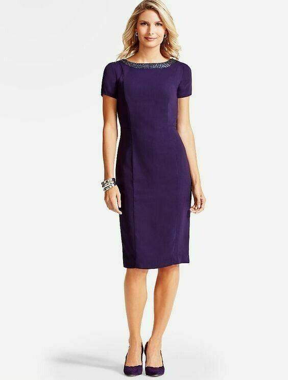 NEW  TALBOTS lila Beaded Crepe Sheath Dress Sz 4P,4 Petite