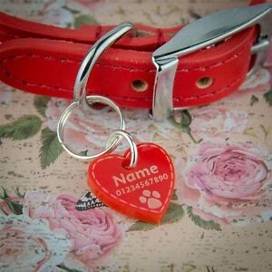 Cat-Tags-SMALL-Dog-Tag-Pet-ID-Personalised-Engraved-Acrylic-12-Colours-8-Shapes