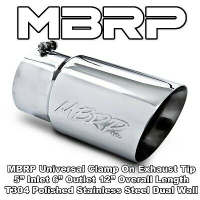 """T5124 MBRP Stainless Steel Exhaust Tip Angled Rolled End 4/"""" Inlet 5/"""" Outlet"""