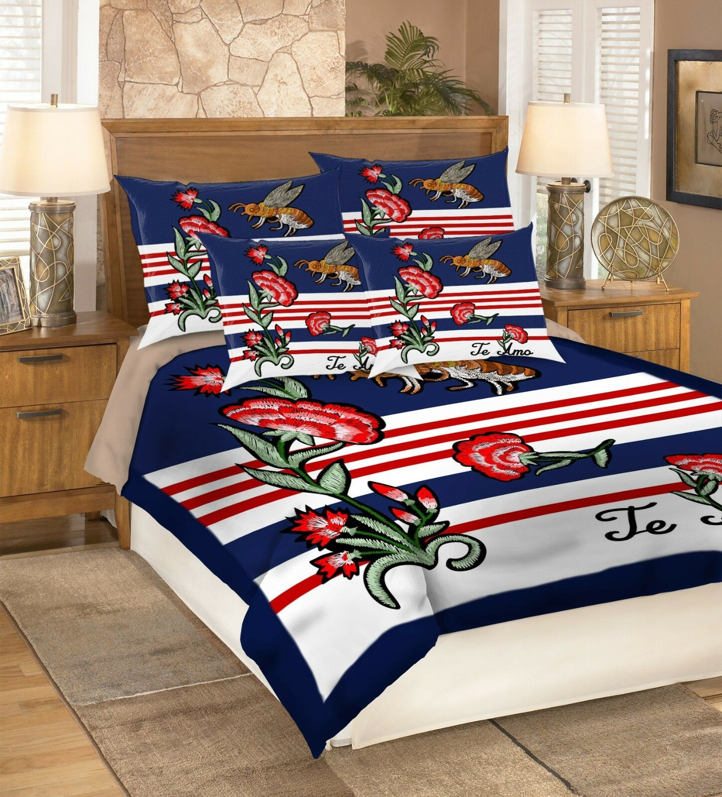 3D Flower Bee 5 Bed Pillowcases Quilt Duvet Cover Set Single Queen King AU Carly