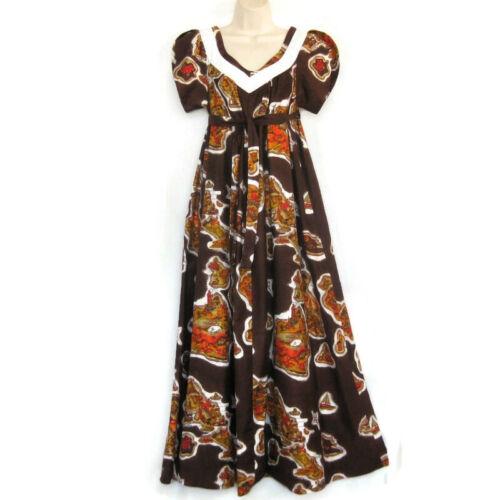 Waltah Clarke Hawaiian Maxi Dress Vintage 16 Islan