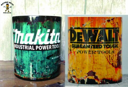 Set Of 2 Retro DeWalt /& Makita Tools Oil Can Mug Mechanic Car DIY Tea Coffee Mug
