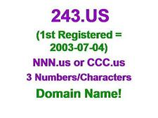 243.US Premium Domain Name NNN.us CCC 3 Number Character Aged Since 2003-07-04
