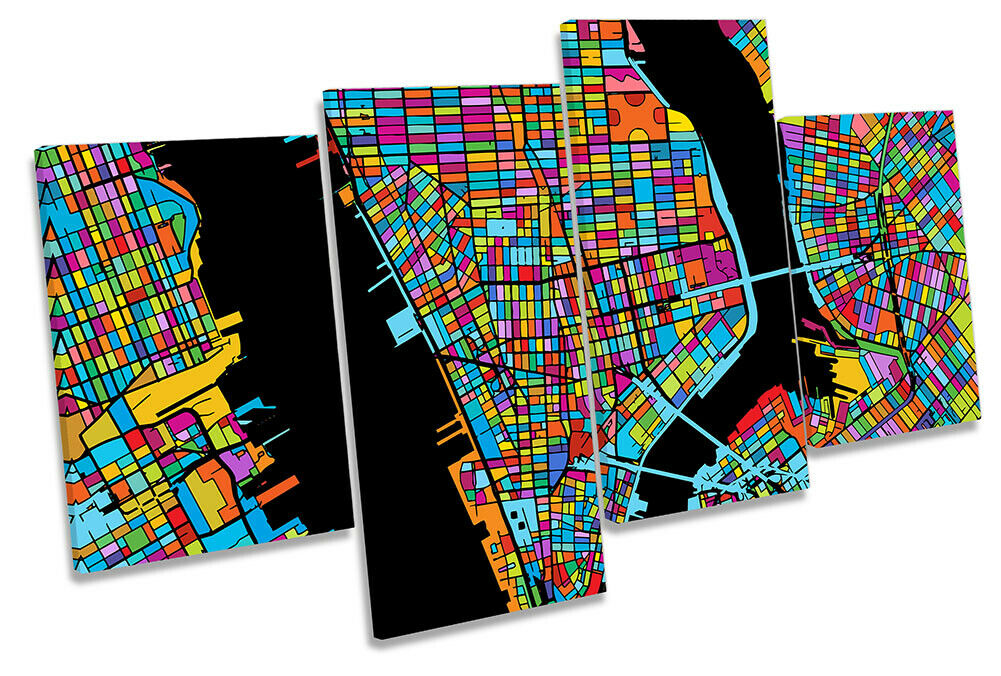 New York City Modern Map Picture MULTI CANVAS WALL ART Print Multi-Colourot
