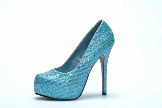 "Blue Glitter Mesh Covered Closed Toe Pumps 1.5"" Platform 5"" Heels BP519-Mamie 7M"