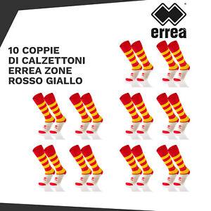 10 COPPIE DI CALZE ERREA ZONE 2003 AD CALCIO RUGBY TG. UNICA ROSSO GIALLO
