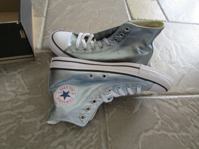 38b0b2552f9d NEW CONVERSE ALL STAR HI CANVAS SNEAKER SHOES WOMENS 12 MENS 10 BLUE  METALLIC