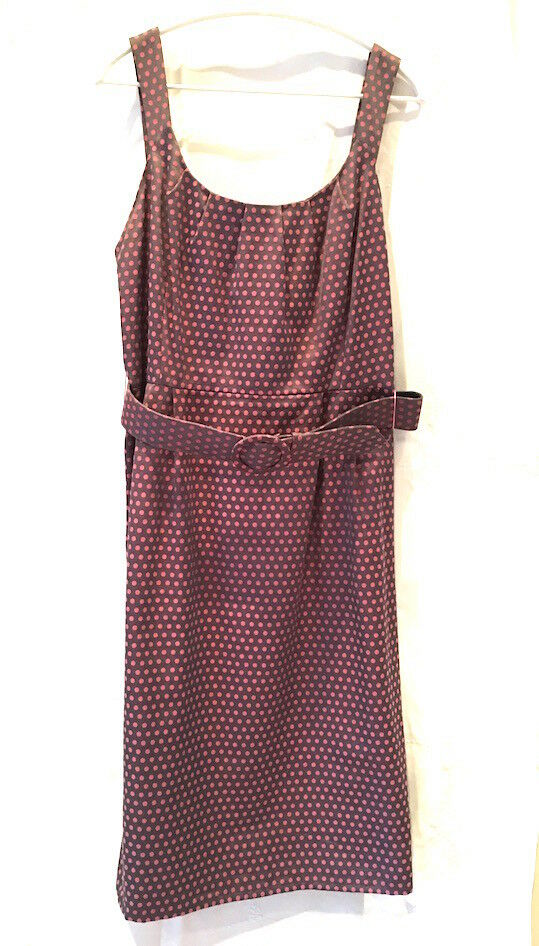 Phase Eight 14 Sun Dress Pink purplec Dot Sleeveless Cotton-Stretch Knee Length