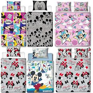 Disney-Mickey-Minnie-mouse-fundas-nordicas-SINGLE-doble-Ropa-De-Cama-Reversible