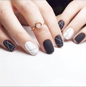 24-x-Fashion-Matte-Black-and-White-Art-Short-Fake-False-Nails-Tip-Stickers-glue