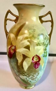 Beautiful-Rare-Royal-Doulton-Gilded-Hand-Painted-Orchid-Vase-signed-Dewsberry