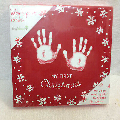 New Tiny Ideas Baby S Print Canvas Holiday My First Christmas 9 X9 W Paint Ebay