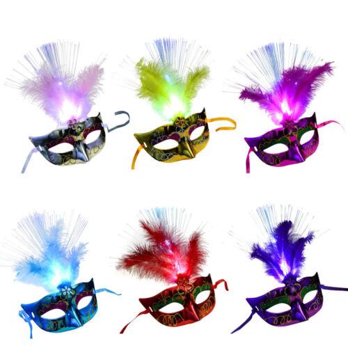 Women Venetian LEDFiber Mask Masquerade Fancy Dress Party Princess Feather Masks