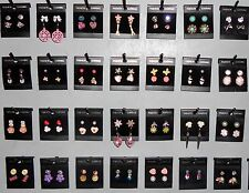 Wholesale Lot Earrings 60 Pair Stud Dangle Pierced New Multi Color Silver Sy3