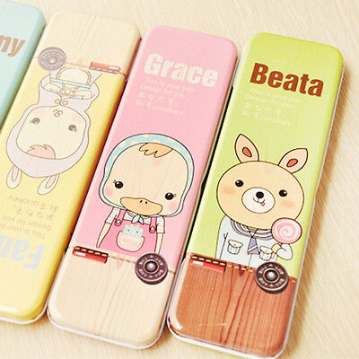 Random Cute Cartoon Kid Creative Metal Pencil Pen Case Stationery Box