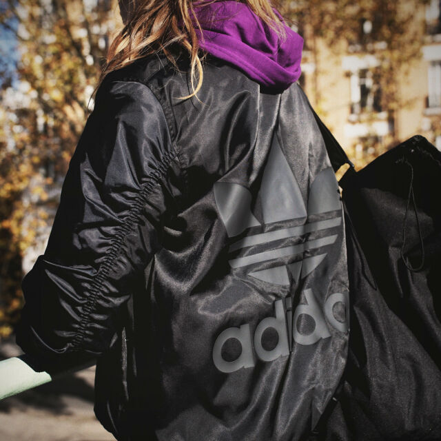815ec40961 adidas Originals Women Short Black Trefoil Satin Bomber Jacket Ruched  Sleeves