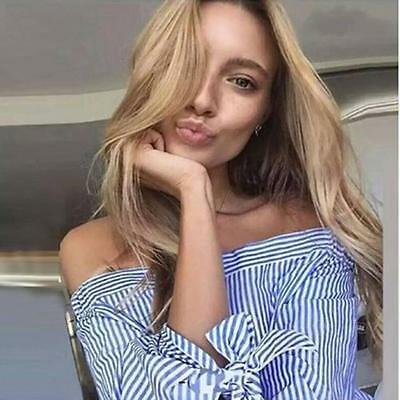 Women's Sexy Simple Elegant Tops Blue Bow T-shirt Off Shoulder Blouse