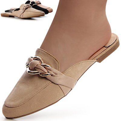 Energisch Velours Mules Pantoletten Slipper Sandalen Sandaletten Slip On Verziert
